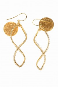 Silver earrings, gold-plated