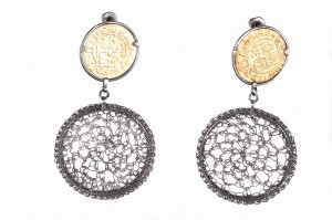 Silver earrings, oxidized and gold-plated